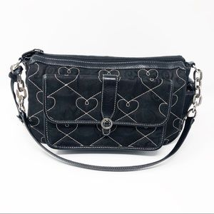 Brighton Black | White Hearts Shoulder Bag Purse